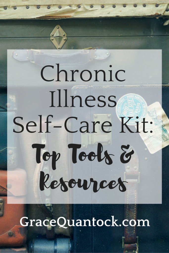 Chronic Illness Self-Care Kit: Top Tools & Resources text on top of photo of vintage suitcases in pile