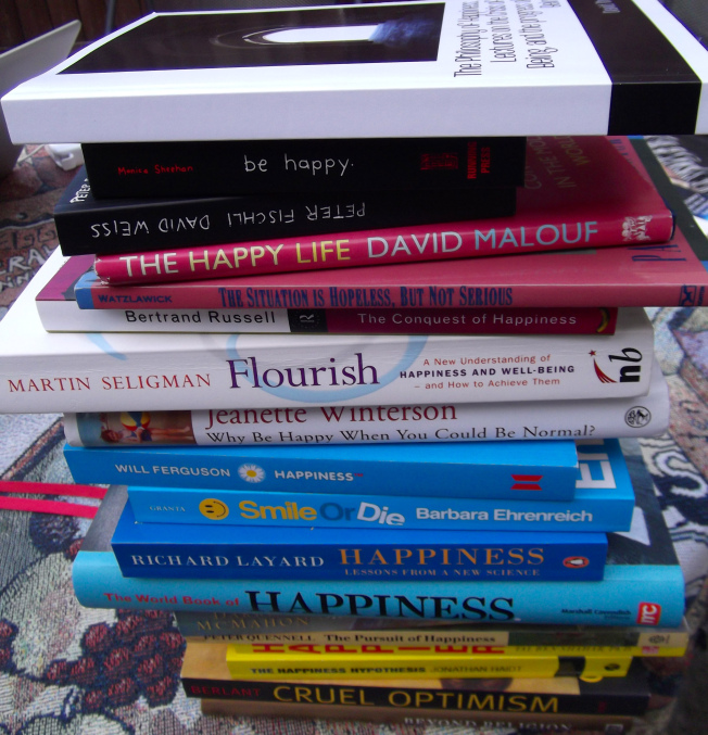 pile of happiness and medical books.