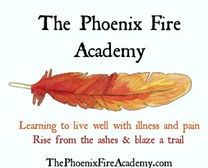 phoenix fire academy, learning to live well with chronic illness, red/orange/gold feather