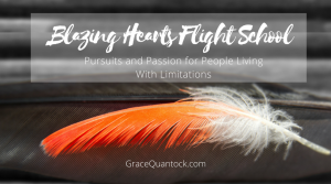 Blazing Hearts Flight School text over image of orange feather