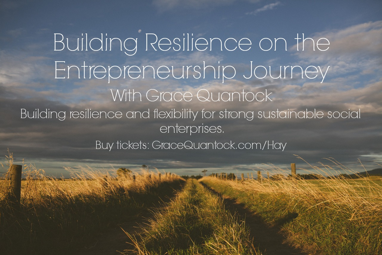 Resilience and Entrepreneurship text on country road background