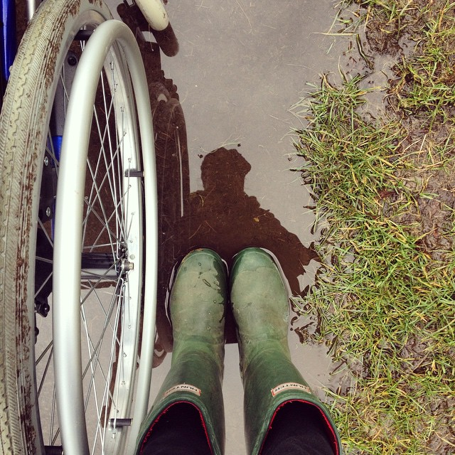 #beyourownbeloved reflections photo, featuring puddles, wellies & woolly hat because it is winter in Wales, of course. #Wales #wheelchair #wheelchairwalk #trailblazingwellness #hunterwellies