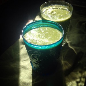 green smoothie, blue glasses