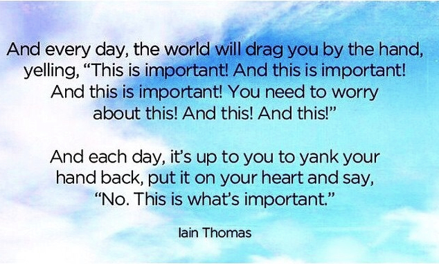 day by day the world will drag you saying this is important, put your hand on your heart and say no this is important Iain Thomas quote on blue sky and cloud background - May Trailblazing Healing Resources: Fuel for Your Healing Fire