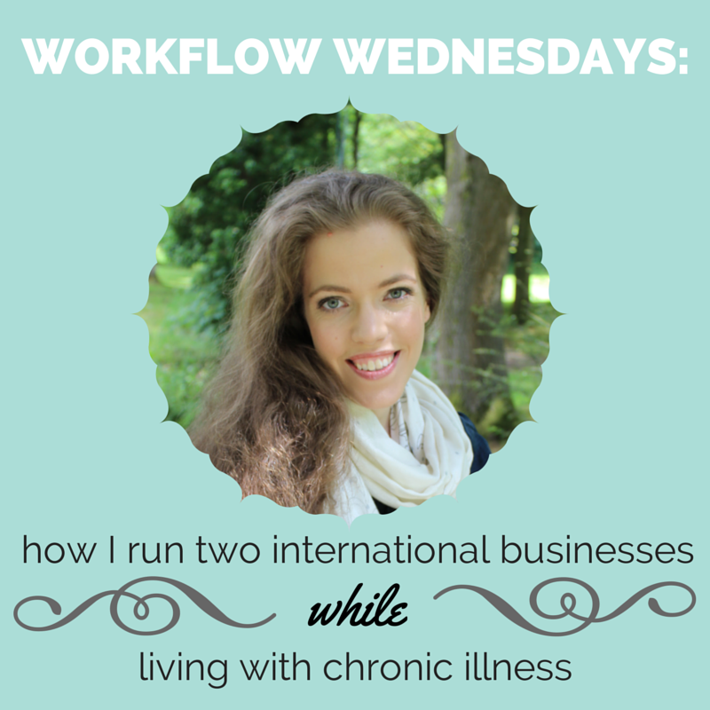 Grace Quantock image on blue background: how I run two international businesses while living with chronic illness
