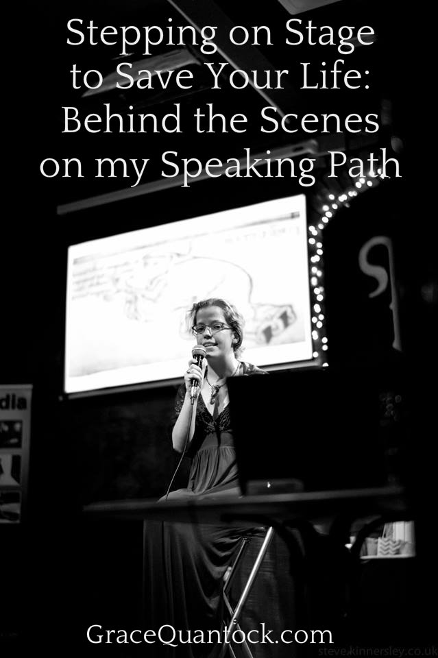 stepping on stage to save your life behind the scenes on my speaking path white text on black and white image of grace quantock speaking on stage