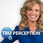 headshot of melissa delay wearing a blue suit with her company logo truperception over the photo