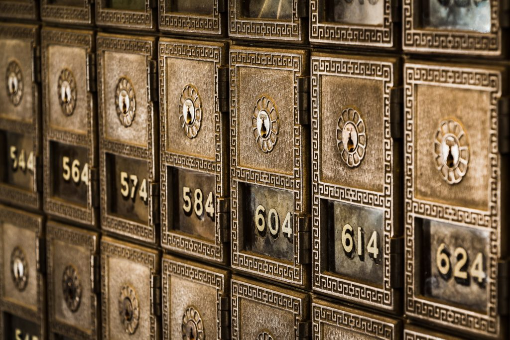 apartment mailboxes in gold numbers 574-614