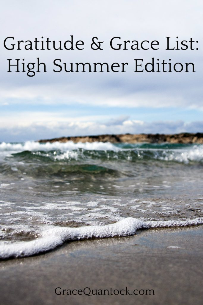 surf on the summer beach with text gratitude and grace list high summer edition