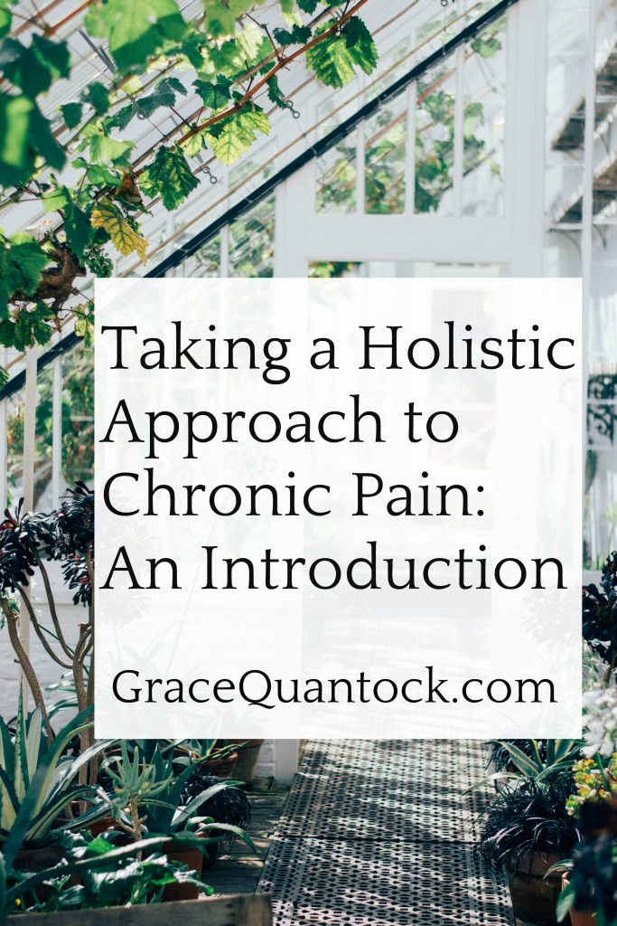 a wooden white greenhouse text: taking a holistic approach to chronic pain an introduction