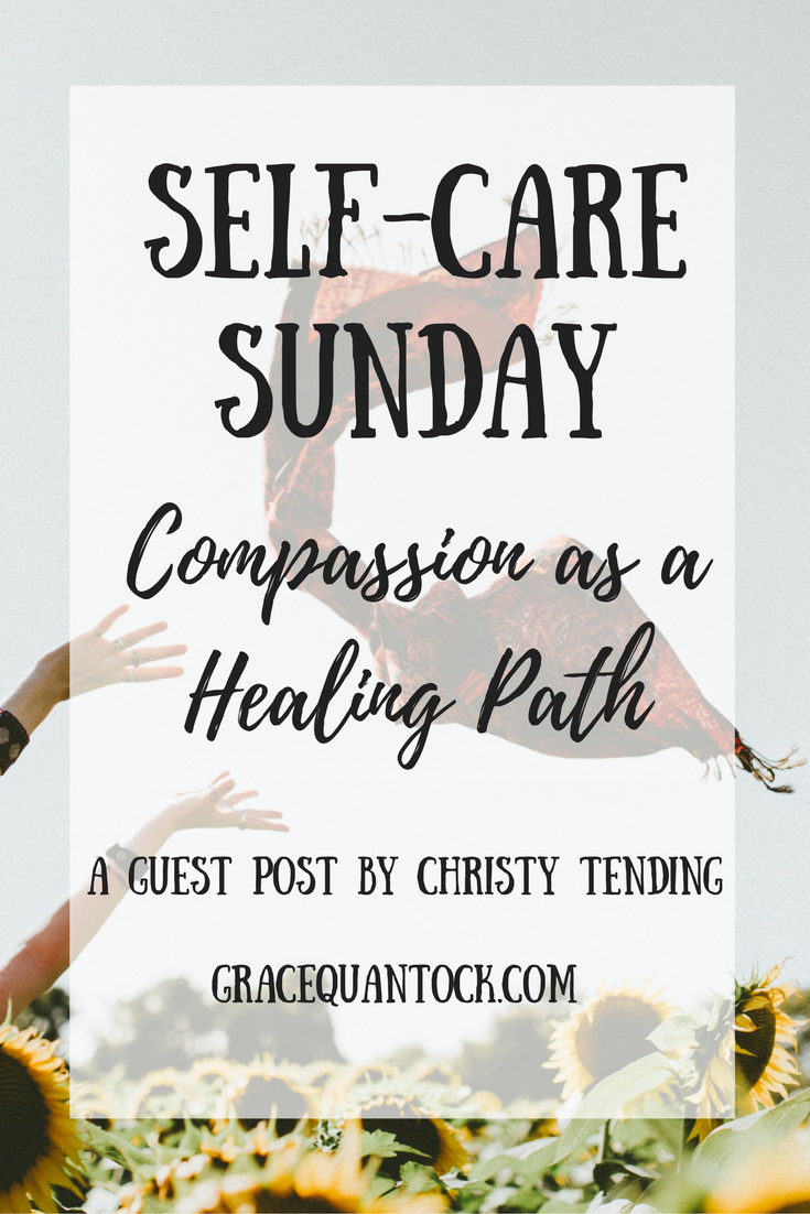 a hand throwing a red scarf over a field text over: Self-care Sunday: compassion as a healing path a guest post by Christy Tending GraceQuantock.com