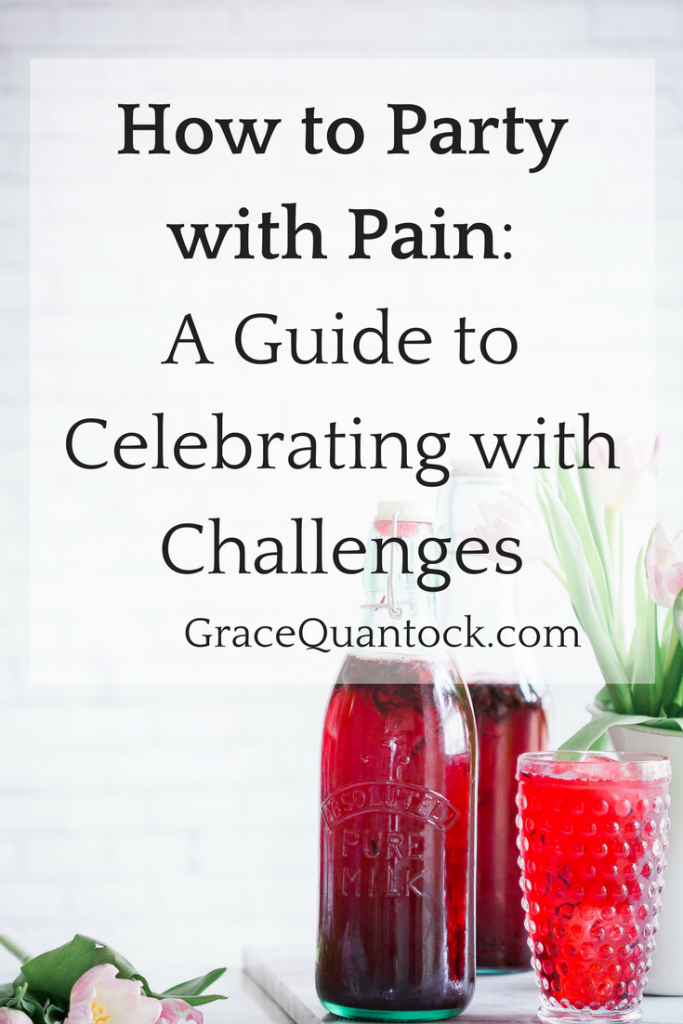 how to party with pain: a guide to celebrating with challenges gracequantock.com black text over imsage of pitchers of red cocktails on a table, white wall behind