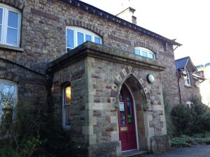 Llantarnum Grange a victorian mansion restored to an art and craft gallery from outside front door