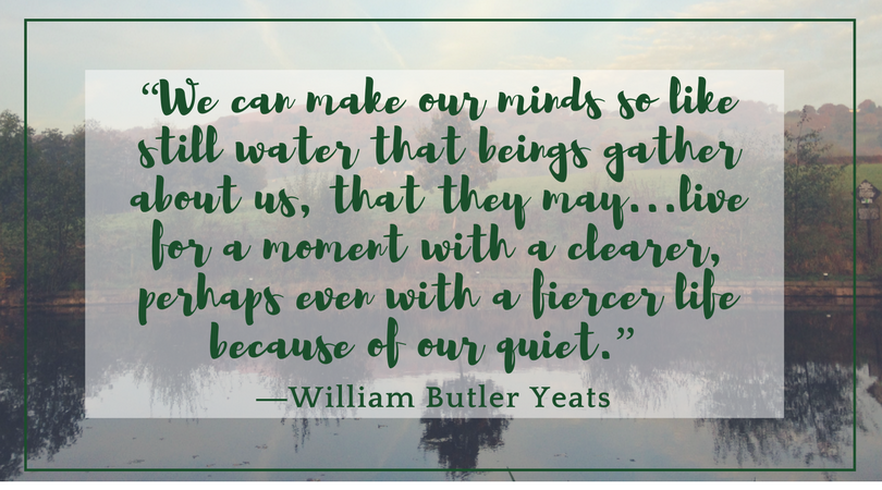 William Butler Yeats We can make ourselves so like still water that beings gather about us, that they can live more fiercely because of our quiet. Quote over photo of landscape, canal reflecting tree.