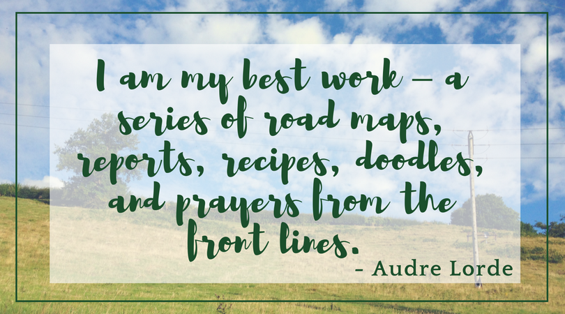 I am my best work – a series of road maps, reports, recipes, doodles, and prayers from the front lines. - Audre Lorde text over photo of hillside with sky with scattered white clouds and telegraph wires on the