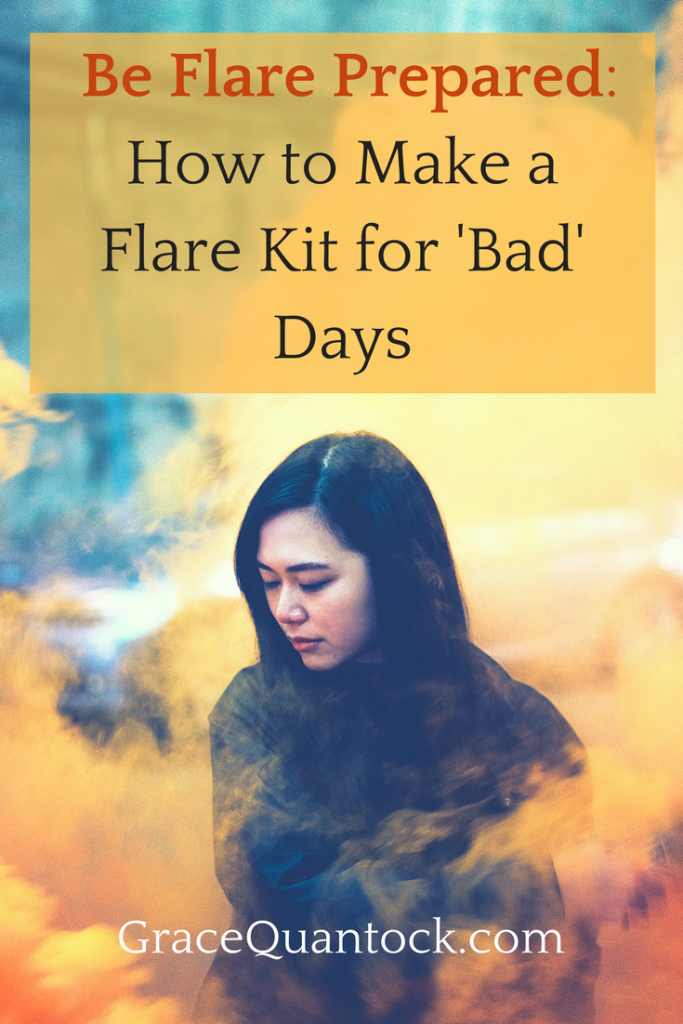 Be flare prepared: how to make a flare kit for 'bad' days text over photo of asian woman surrounded by orange flare smoke.