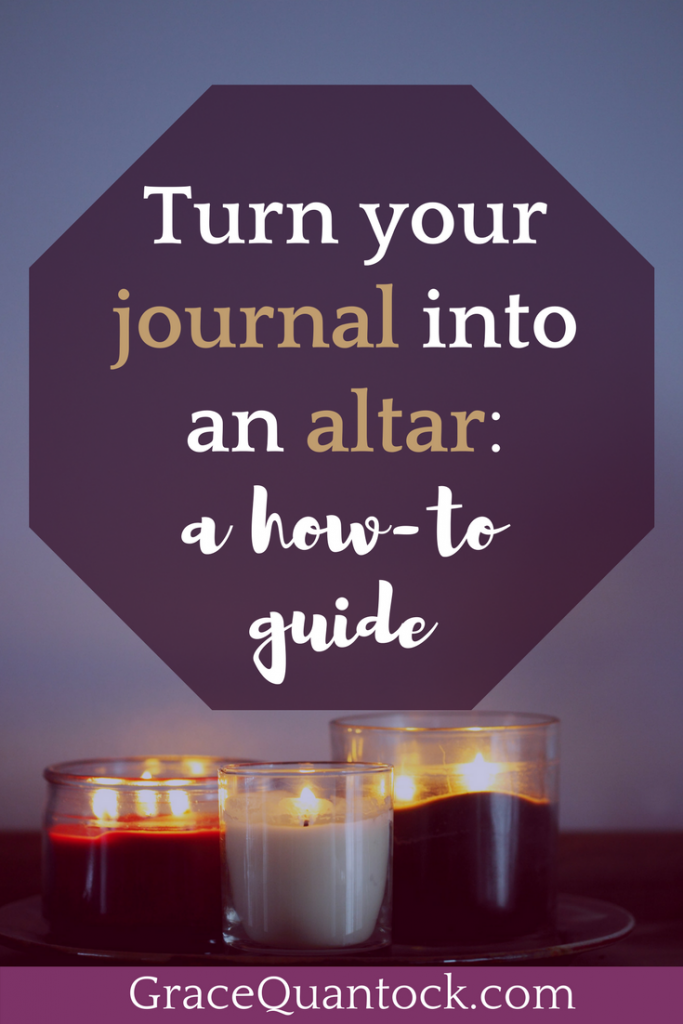 Photo of 3 candles in jars on a tray, text above: Turning your journal into an altar- a how-to guide