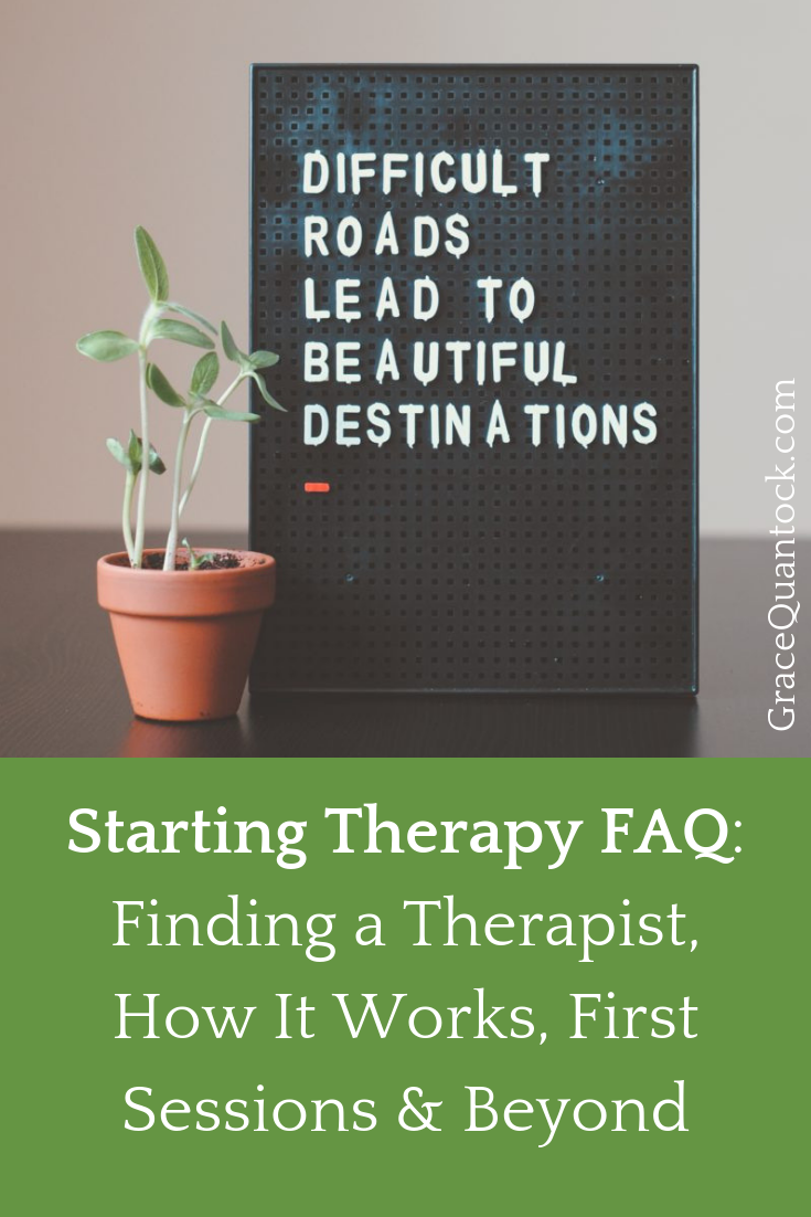 "Starting therapy FAQ poster with plant and poster"" hard roads lead to beautiful destinations"