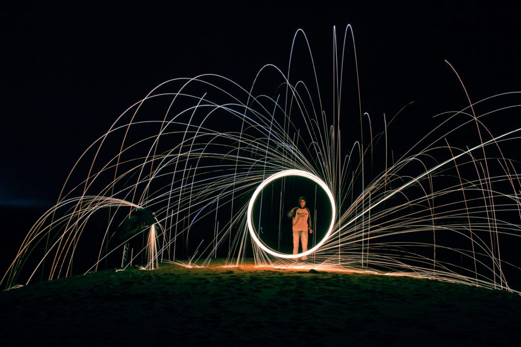Person holding sparkler in circle