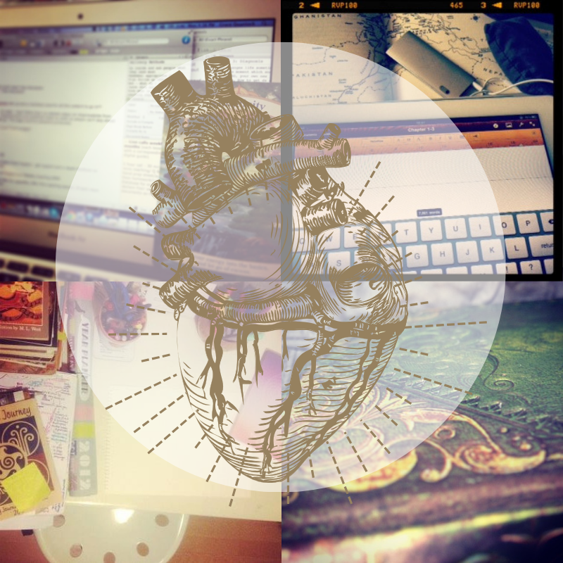 Montage of images of Grace's working spaces, computer screens, iPad, maps, journals, piles of books. A an anatomical drawing of a heart overlaid in gold.