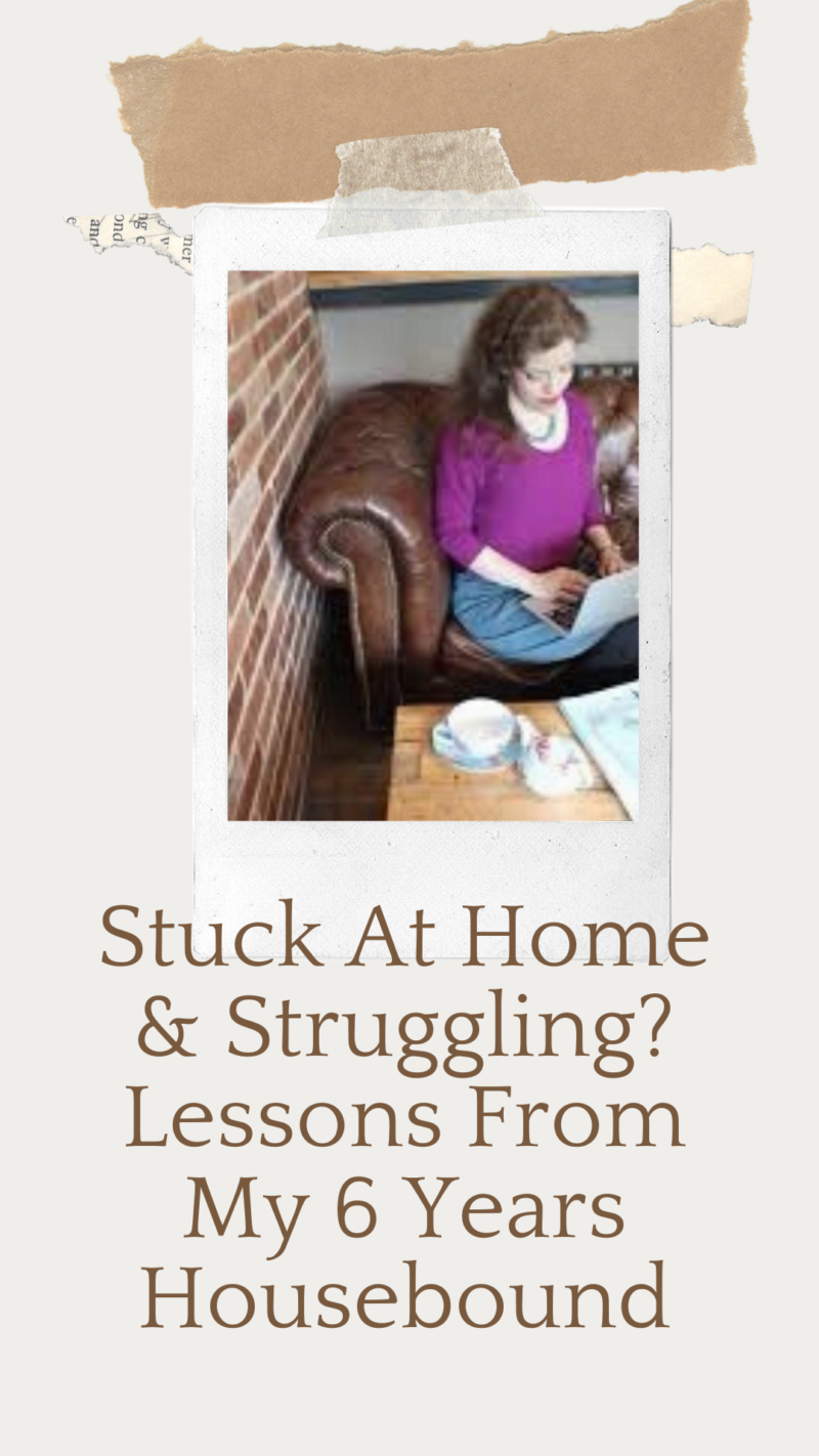 Grace sitting on a sofa with a typewriter. Text: Struggling at home? Lessons from my 6 years housebound