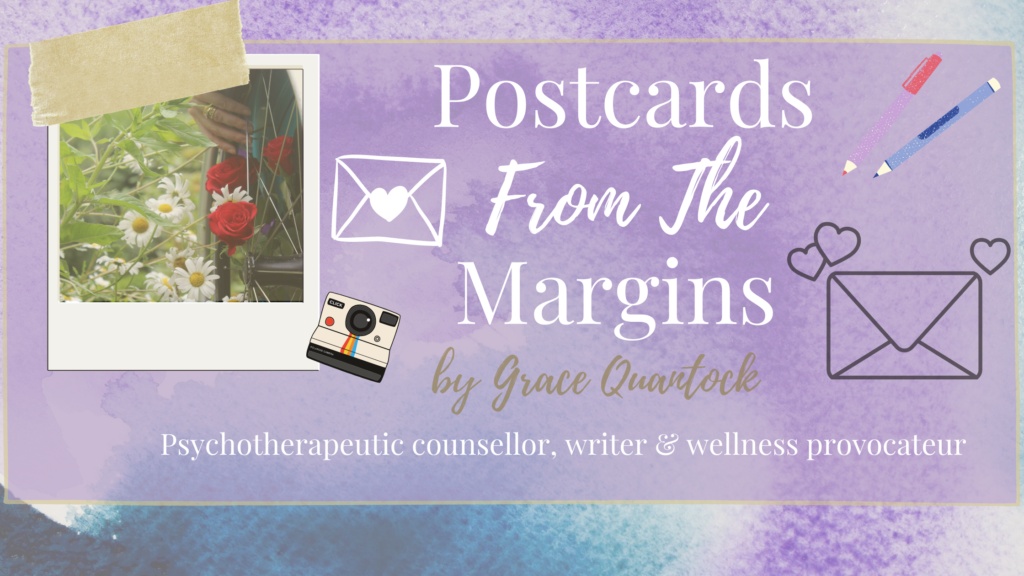 Postcards from the margins banner with polaroid photograph, pens and pictures of envelopes scattered around.