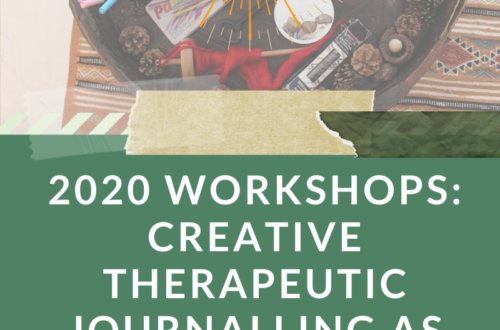 2020 Workshops: Creative Therapeutic Journalling As Resource & Ally in World Building Text under photo of round table with candle and journalling/art supplies scattered on it.