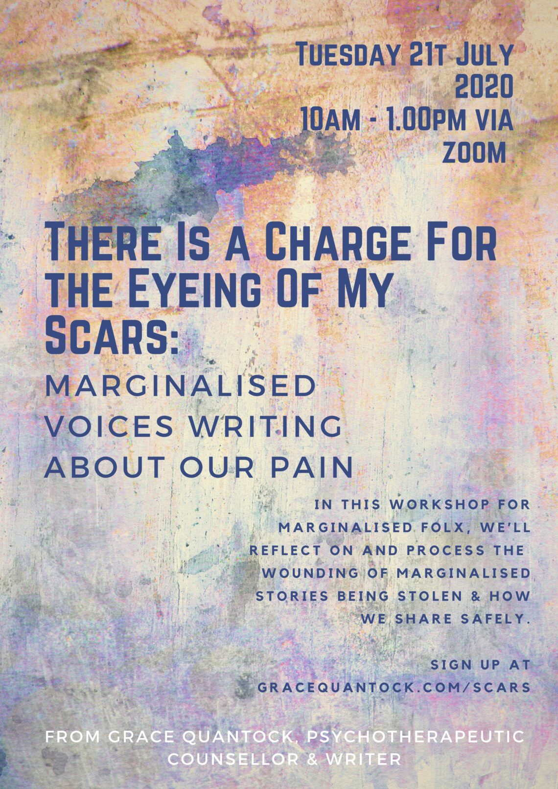 There is a charge for the eyeing of my scars workshop marginalised voices writing about pain