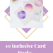 10 inclusive card decks for journalling and self reflection gracequantock.com white text on purple background. Photograph of oracle cards with pink/purple coloured circles on them over - picture layered over a purple and gold diamond graphic above the text.